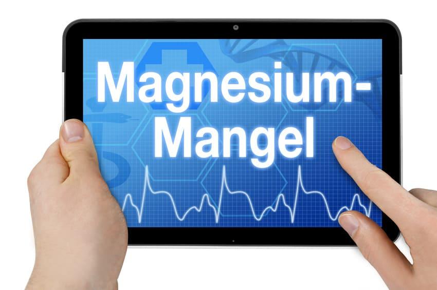 Gesundheitschart auf Ipad zu Magnesium-Mangel